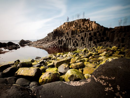 Giant's Causeway with blurry people
