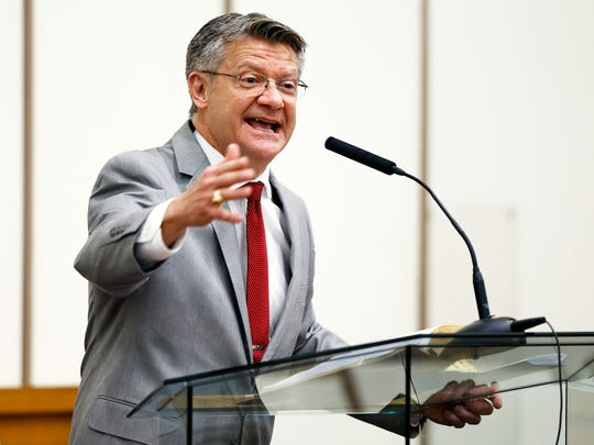 The Rev. Frank Lewis, pastor at Nashville First Baptist Church, speaks to the congregation during a service at First Baptist Church, Capitol Hill on April 22, 2018.