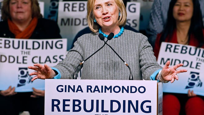 Hillary Rodham Clinton addresses supporters of Rhode Island Democratic gubernatorial nominee Gina Raimondo during a Raimondo campaign event at Rhode Island College in Providence, R.I., in October. Clinton once again topped the list of most admired woman in a Gallup poll.