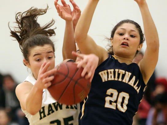 Whitnall's Jaden Kelley (20) battles Greenfield's Sophia