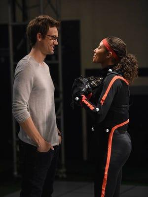 "La Quinta High School grad Tyler Hilton on left and Kylie Bunbury on an episode of FOX TV's ""Pitch."""