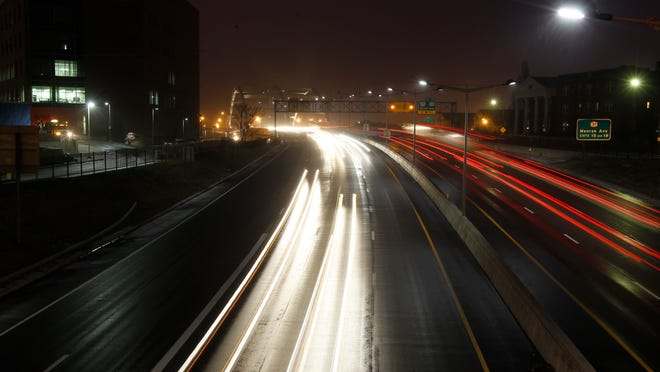 Commuter traffic on Interstate 490 downtown.