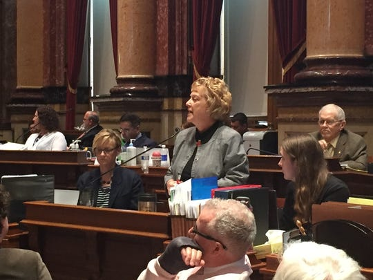 Sen. Amanda Ragan, D-Mason City, speaks to the Iowa Senate Friday, April 22, 2016, during debate on a health and human services appropriations.
