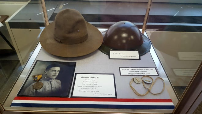 Among the items on display at the Morris Plains World War I exhibit are dogs tags, a helmet, hat and some details about a local man and his time in the service.