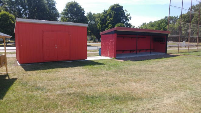 The new changing rooms for players, part of upgrades to the ballpark at Babcock Park for the NYCBL's Dansville Gliders. [Express photos