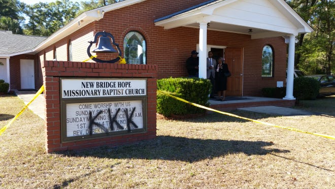 """The FBI, in partnership with the Florida Department of Law Enforcement and the Wakulla County Sheriff's Office, is investigating the spray painting of """"KKK"""" on three Wakulla County churches, including New Bridge Hope Missionary Baptist Church."""
