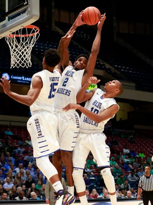 Mar 11, 2016; Birmingham, AL, USA; Middle Tennessee Blue Raiders forward Perrin Buford (2) comes down with a rebound against Marshall Thundering Herd during the Conference USA basketball tournament at Legacy Arena. Mandatory Credit: Marvin Gentry-USA TODAY Sports