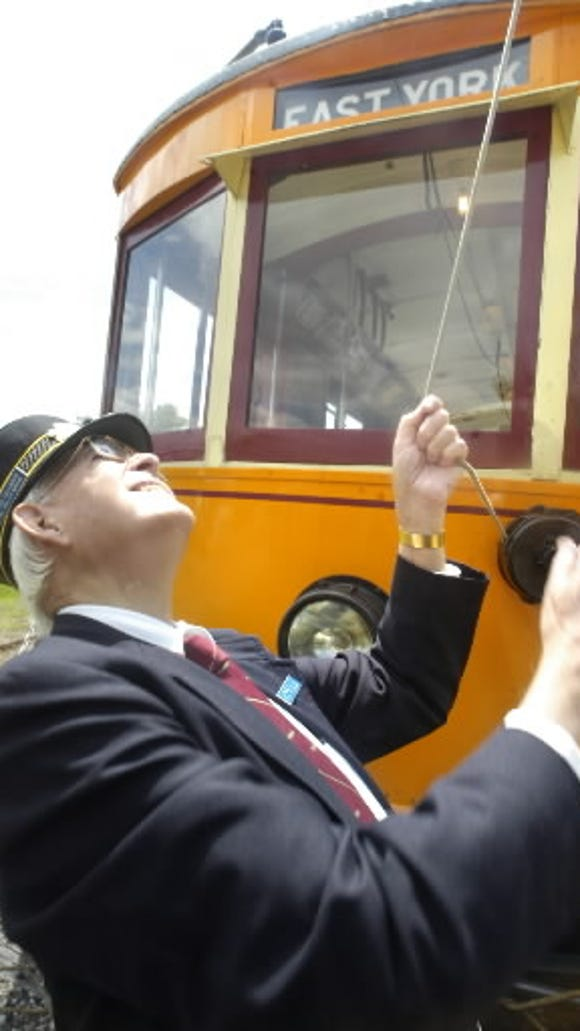 The East York destination sign is intact in restored car No. 163's front.
