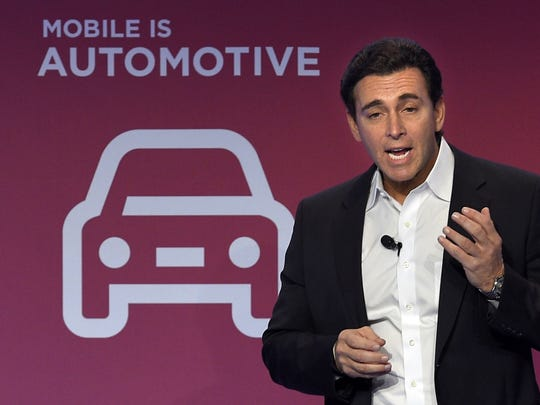 President and Chief Executive Officer of Ford Motor Company Mark Fields speaks during a press conference on the first day of the Mobile World Congress in Barcelona, on February 22, 2016.