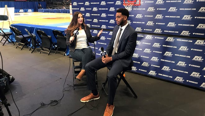 Trevon Bluiett conducts an interview during Big East Media Day at Madison Square Garden Oct. 19.