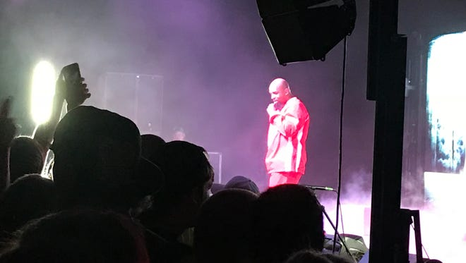 Tech N9ne performing at the Old National Events Plaza.