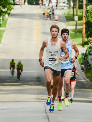 Mitchell Bilitz races down Green Avenue during the 41st annual Bellin Run, held on Saturday, June 10, 2017.