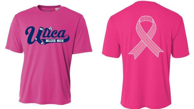 Example of the Utica Blue Sox shirt that will help raise funds to support the American Cancer Society.