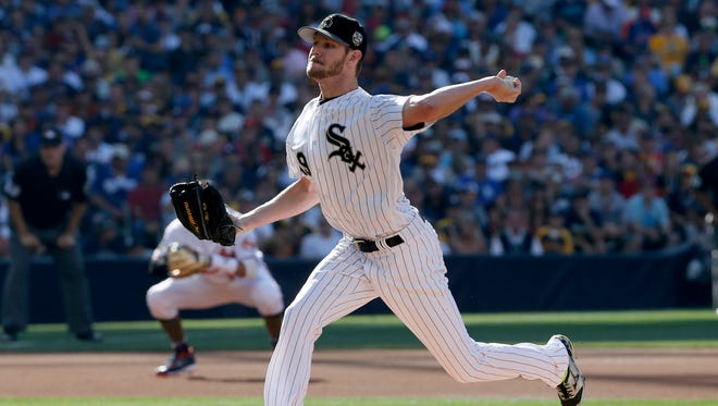 American League's starting pitcher Chris Sale, of the Chicago White Sox, throws against the National League during the first inning of the MLB baseball All-Star Game, Tuesday, July 12, 2016, in San Diego. (AP Photo/Lenny Ignelzi)