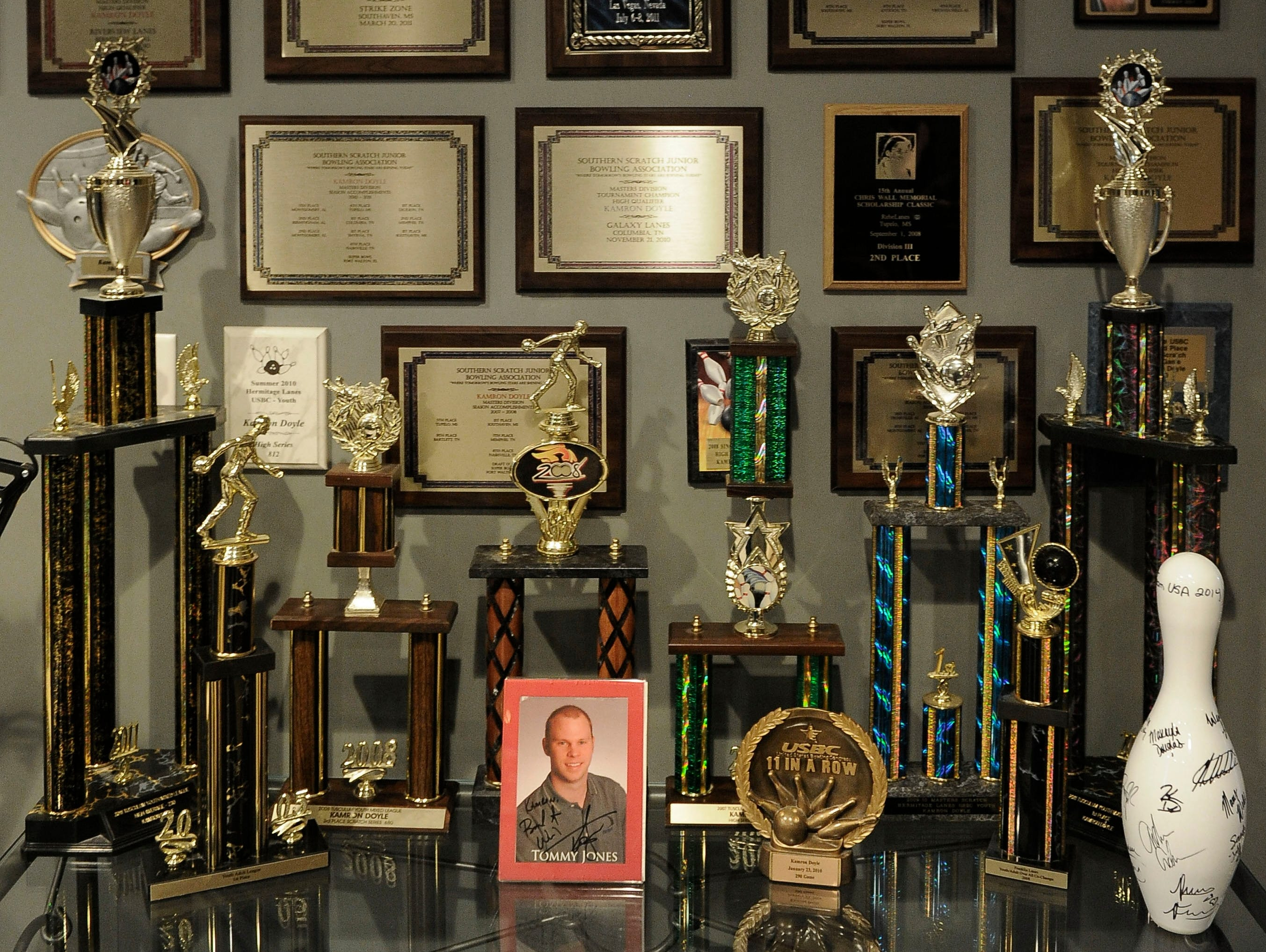 Kamron Doyle, 17, became the youngest bowler in history to win the Team USA Trials. His awards cover the walls at his Brentwood home.