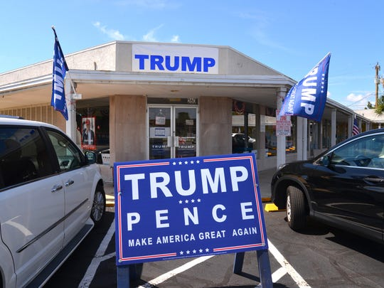 The Trump Victory headquarters in Cocoa Beach has a steady stream of Trump supporters stopping by for bumper stickers, buttons and yard signs. Trump supporters were busy Monday, gearing up for the debate and Tuesday's visit of Donald Trump to Melbourne.