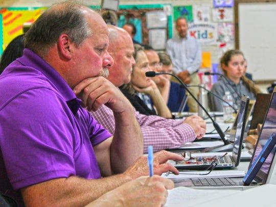 Burlington School Board member David Kirk at the October 13th meeting at Edmunds Middle School.