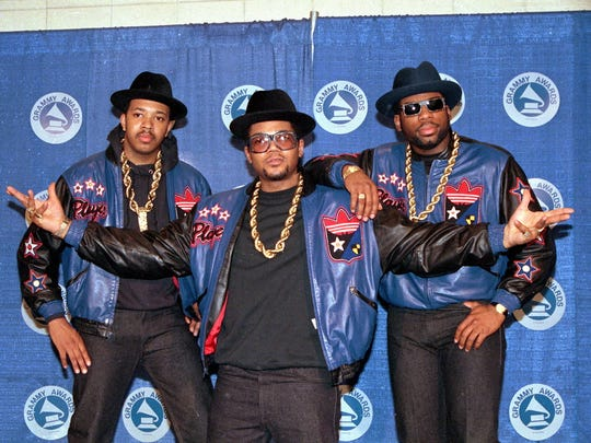 "From left, Joseph ""Run"" Simmons, Darryl ""DMC"" McDaniels, and the late Jason Mizell ""Jam Master Jay."""