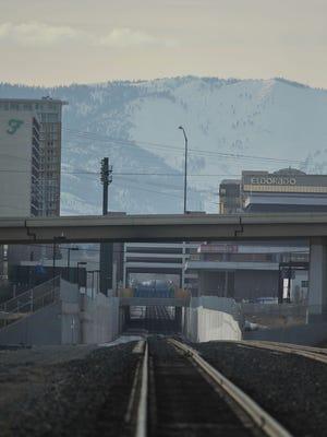The train trench runs through downtown Reno.  1/12/2010