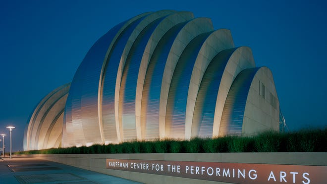Safdie Architects designed the new Kauffman Center for the Performing Arts in Kansas City, Mo. The architectural firm is one of six competing to build Kum & Go's new headquarters in downtown Des Moines. <242>