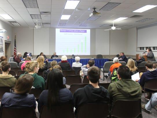 The board members of Ramapo Central school board discuss