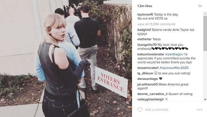 Taylor Swift shared a photo from her polling place on Instagram.