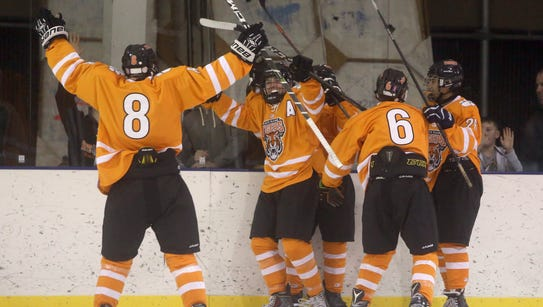 White Plains celebrates a goal by Rich Myers during