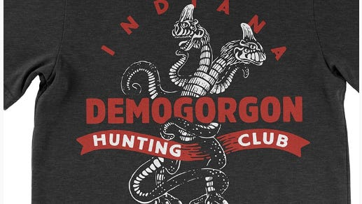 Indiana Demogorgon Hunting Club T-shirt, $25, United State of Indiana.
