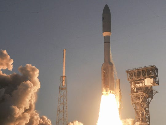 United Launch Alliance's most powerful Atlas V rocket blasted off from Launch Complex 41 at Cape Canaveral Air Force Station on April 14, 2018, with a multi-payload mission for the U.S. Air Force.