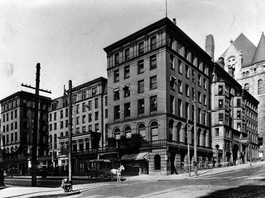 An undated photo of the Burnet House on the N.W. corner of Third and Vine Streets Downtown. The site is where the Union Central Tower's annex was built, which was home to Café deVine. The annex at 309 Vine Street is in the process of being converted from offices to apartments. (Old Chamber of Commerce Building in rear, right).