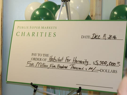 Publix Super Markets Charities donated $5.5 million to Habitat for Humanity agencies throughout the Southeast in 2016.
