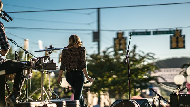 """Mary Sarah, of """"The Voice"""" fame, closed out Saturday's second annual Music on Main festival in Ashland, Tennessee on Oct. 8, 2016. On Drums: Danny Young."""