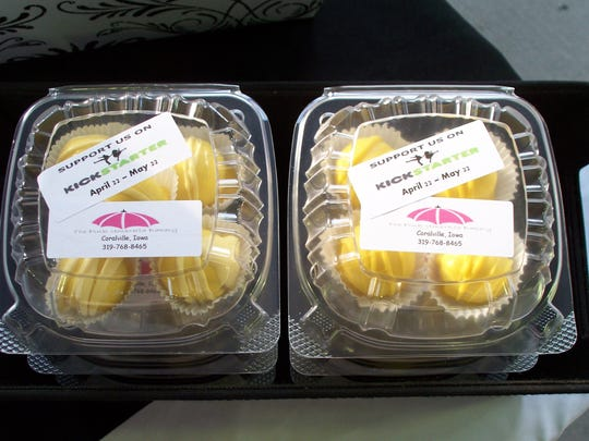 Pink Umbrella Bakery lemon cake bites advertise a Kickstarter