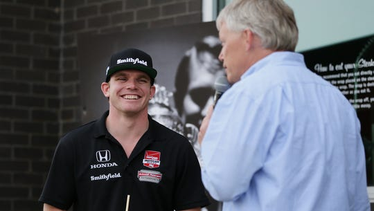 IndyCar driver Conor Daly (left) spoke to IndyStar's