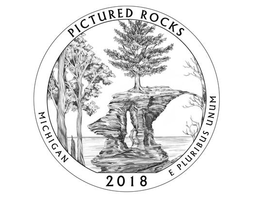The design representing Pictured Rocks depicts Chapel