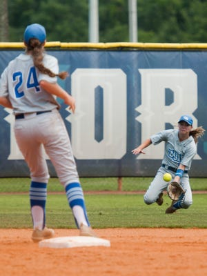 University of West Florida's Rachel Wright, (No. 14) makes a sliding save in shallow center during game 2 of the NCAA Division II South Super Regional Friday afternoon.
