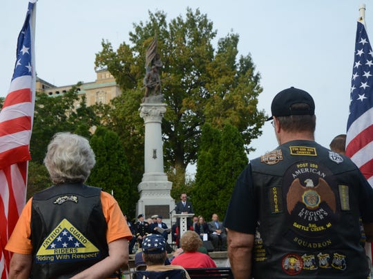 Patriot Guard Riders and American Legion Riders assisted during the 9/11 memorial ceremony Monday night at McCamly Park.