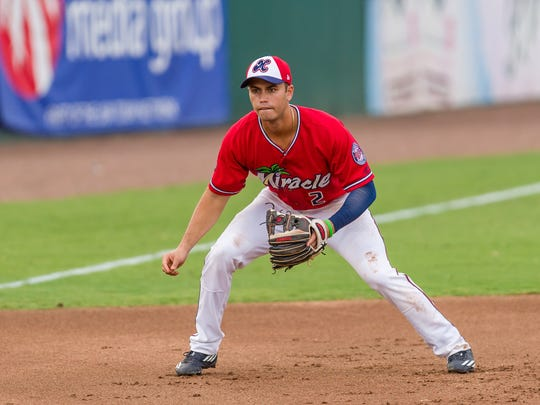 Fort Myers Miracle third baseman Brandon Lopez.