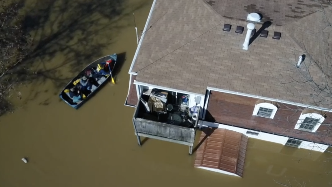 Drone video: Flooding from Utica, Indiana