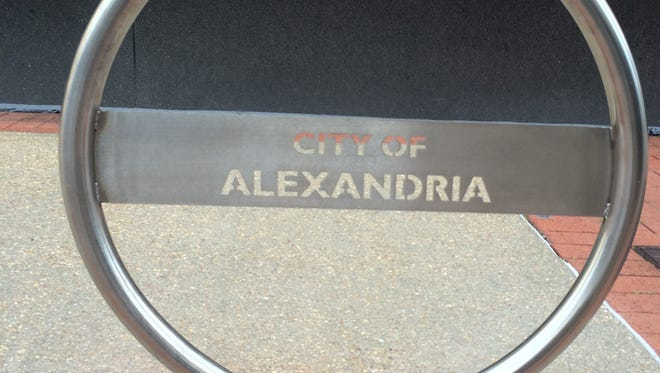 This bicycle rack at City Hall is one of 11 new bicycle racks placed around the city of Alexandria.
