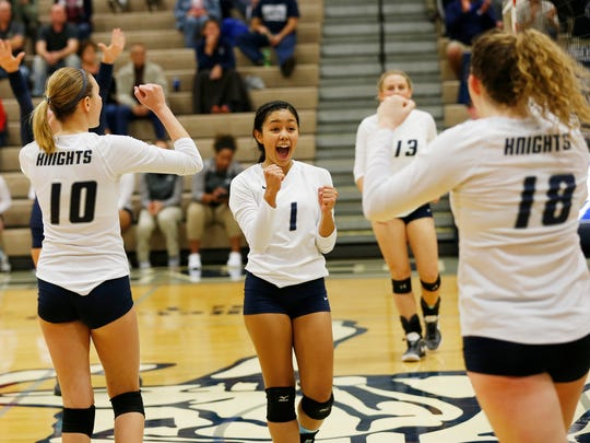 Sami Royer 91) and her Central Catholic teammates react