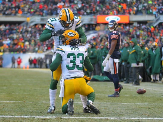 Packers defensive back Micah Hyde is congratulated by safety Ha Ha Clinton-Dix after Hyde broke up a pass near the goal line.