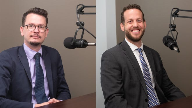 Joshua Luttrell, left, faces incumbent Mike Kagay, right, in the race for Shawnee County District Attorney. Each candidate sat down recently with The Topeka Capital-Journal for a conversation about their priorities and the race for DA.