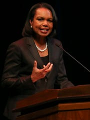 Condi Rice speaks at the University of Minnesota