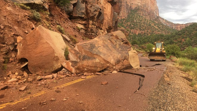 A house-sized boulder fell on the roadway in Zion National Park Wednesday.