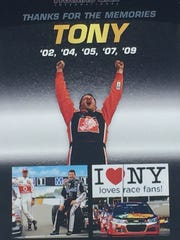 This posted greeted retiring Sprint Cup champ Tony
