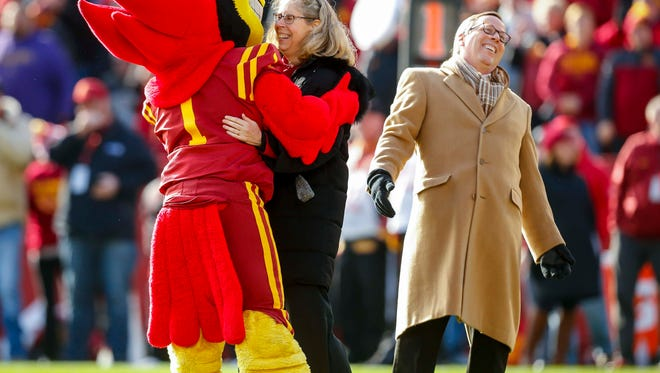 Iowa State president Wendy Wintersteen hugs Cy during their game against TCU at Jack Trice Stadium Saturday, Oct. 26, 2017, in Ames, Iowa.
