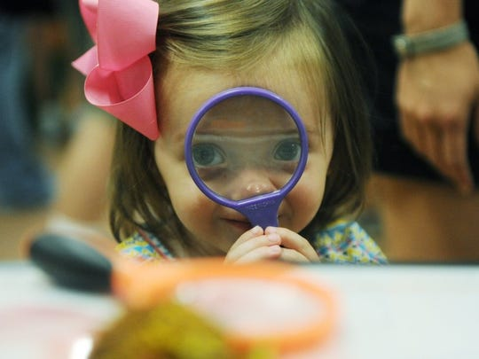 Calyn Parker, 2, uses a magnifying glass to look as beekeeper, David Loughrie, shows off a piece of honeycomb at Bug Fest at Wesselman Woods Nature Center in 2014. Calyn came with her cousin to check out the different types of bugs on display at Wesselman's and learn how they are important to our lives.