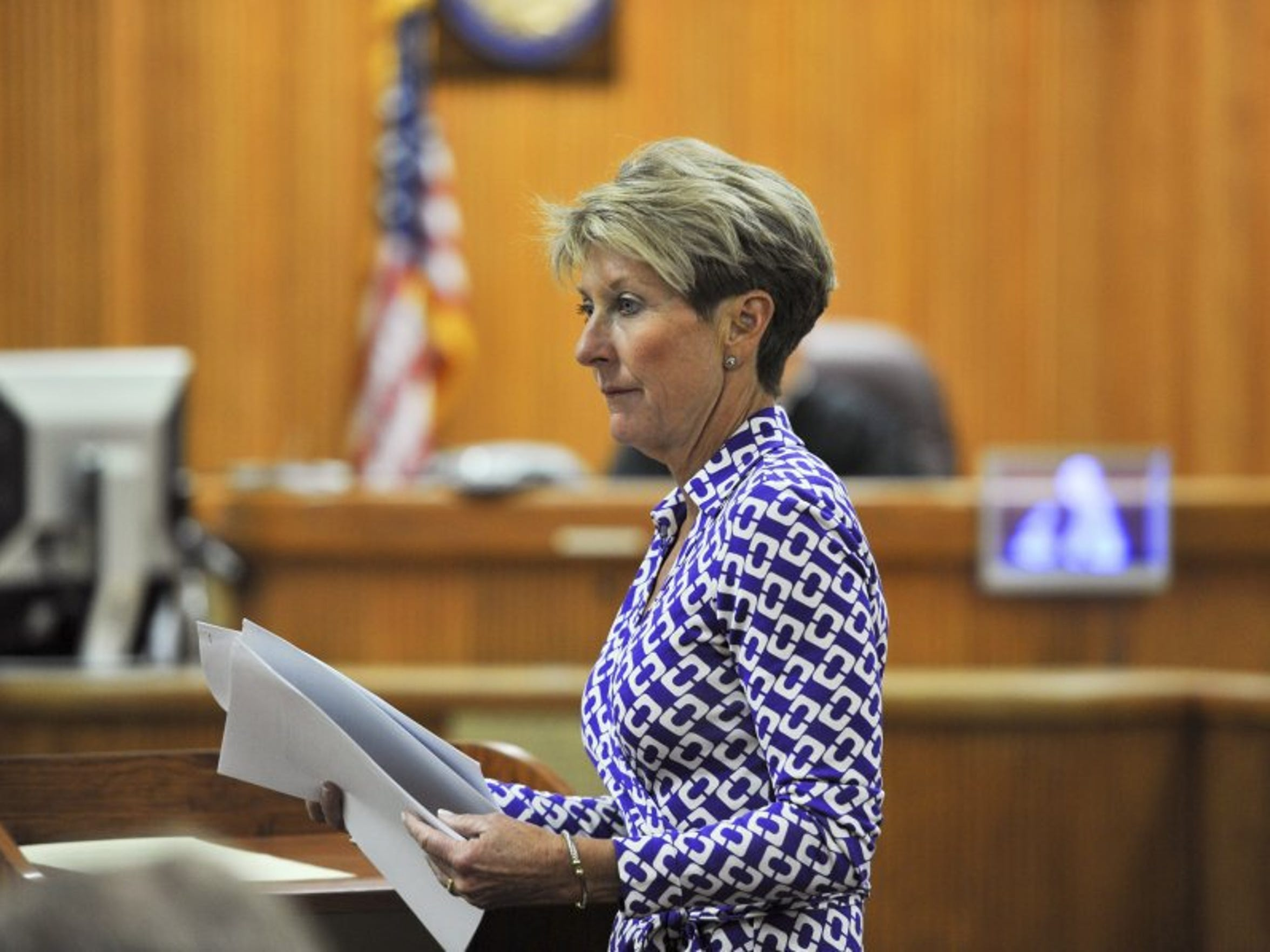 Public Defender Diamond Litty argues a motion in court March 11, 2014, during the second day of Tyler Hadley's sentencing hearing at the St. Lucie County Courthouse in Fort Pierce. (FILE PHOTO)