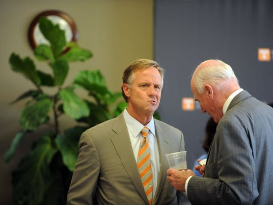 Gov. Bill Haslam mingles with attendees at the dedication